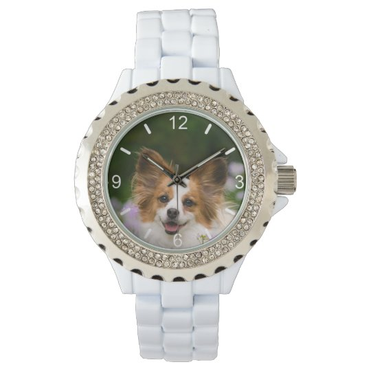 Papillon Dog Cute Romantic Portrait - dial-plate Watch