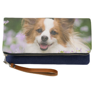 Papillon Dog Cute Romantic Portrait Photo foldover Clutch