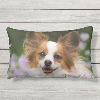 Papillon Dog Cute Romantic Portrait Photo  Outside Outdoor Pillow