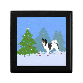 Papillon Dog Decorating Christmas Tree in Forest Keepsake Boxes