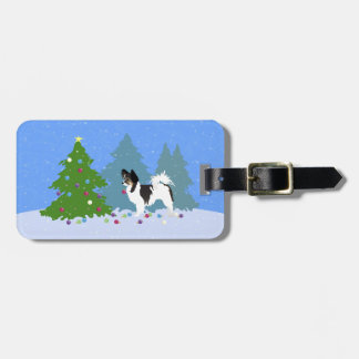 Papillon Dog Decorating Christmas Tree in Forest Luggage Tag