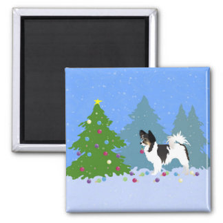 Papillon Dog Decorating Christmas Tree in Forest Square Magnet