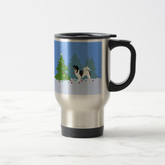 Papillon Dog Decorating Christmas Tree in Forest Travel Mug