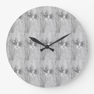 Papillon Dog graphic art round designer clock