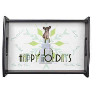 Papillon Dog | Green Christmas Serving Tray