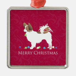 Papillon Dog Merry Christmas Design Metal Ornament