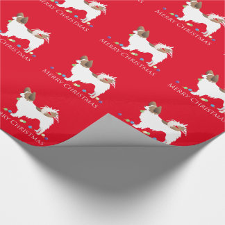 Papillon Dog Merry Christmas Design Wrapping Paper