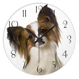Papillon dog portrait large clock