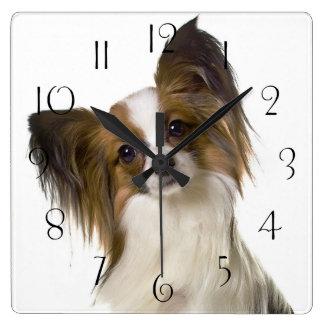 Papillon dog portrait square wall clock