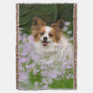 Papillon Dog Romantic Portrait, blanket Throw