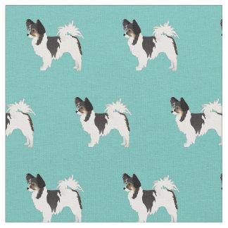 Papillon Dog Silhouette Tiled - Basic Fabric