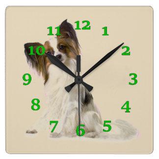 Papillon Dog Square Wall Clock