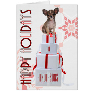 Papillon Dog with Presents | Red Christmas Card