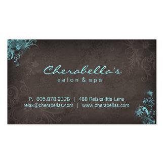 Papillon floral Brown bleu de spa élégant de salon Cartes De Visite Professionnelles