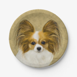 Papillon (Hound Tri Color) 7 Inch Paper Plate