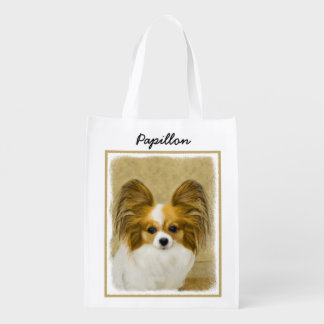 Papillon (Hound Tri Color) Grocery Bags