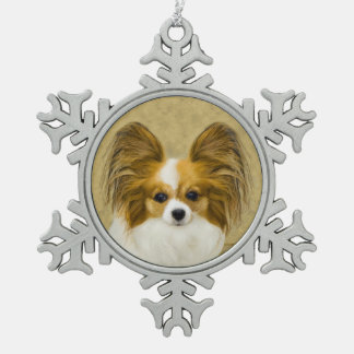 Papillon (Hound Tri Color) Snowflake Pewter Christmas Ornament