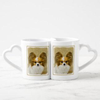 Papillon (Hound Tri) Painting - Original Dog Art Coffee Mug Set