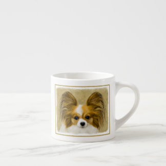 Papillon (Hound Tri) Painting - Original Dog Art Espresso Cup