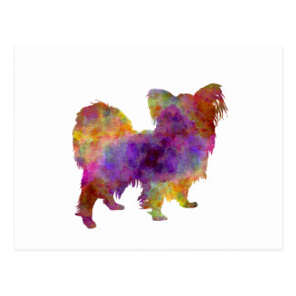 Papillon in watercolor postcard