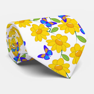 Papillon jaune bleu de tournesol abstrait mignon cravate