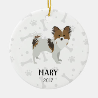 Papillon Personalized Dog Christmas Ornament