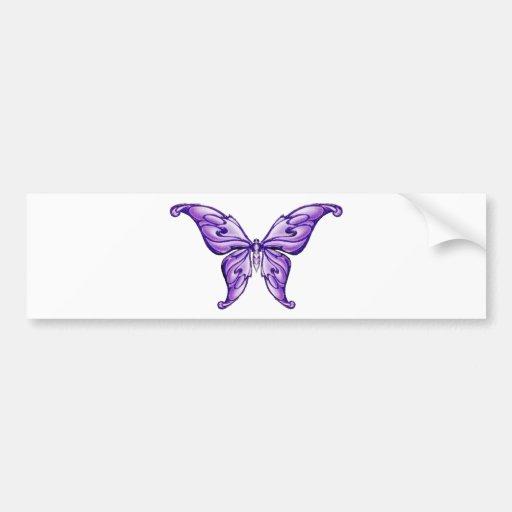 papillon pourpre mignon autocollant pour voiture