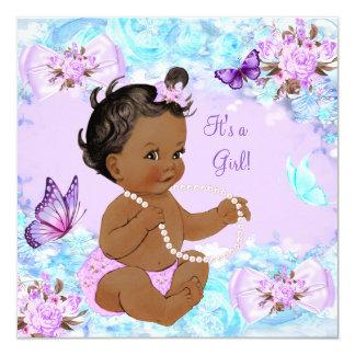 Papillon pourpre turquoise de baby shower de fille carton d'invitation  13,33 cm