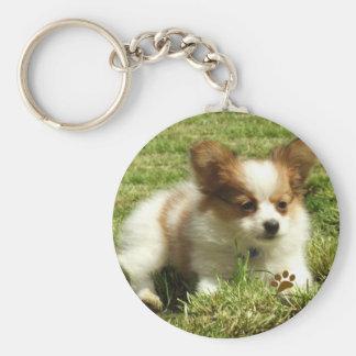 Papillon Puppy Keychain