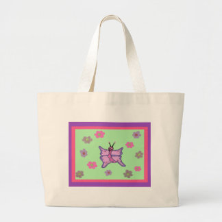 Papillon rose et pourpre sac en toile jumbo