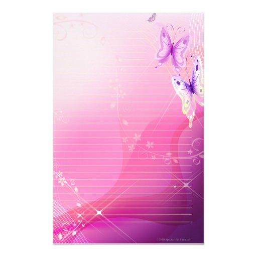 Papillon rose stationnaire papier à lettre personnalisé