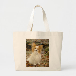 papillon sitting large tote bag