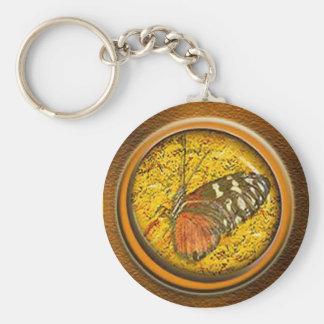 papillon sous le verre porte-clé rond