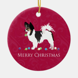 Papillon Toy Dog Breed Christmas Silhouette Ceramic Ornament