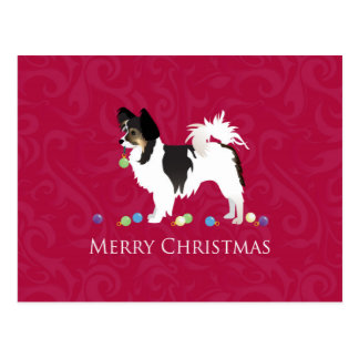 Papillon Toy Dog Breed Christmas Silhouette Postcard