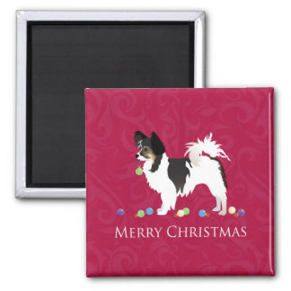 Papillon Toy Dog Breed Christmas Silhouette Square Magnet