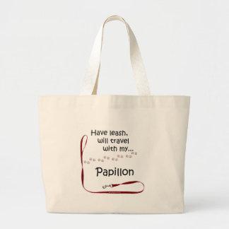 Papillon Travel Leash Large Tote Bag