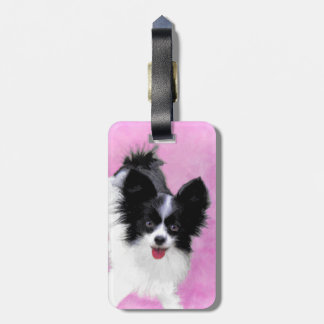 Papillon (White and Black) Luggage Tag