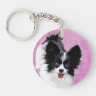 Papillon (White and Black) Painting - Dog Art Keychain