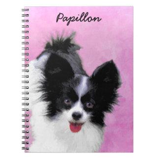 Papillon (White and Black) Painting - Dog Art Notebooks