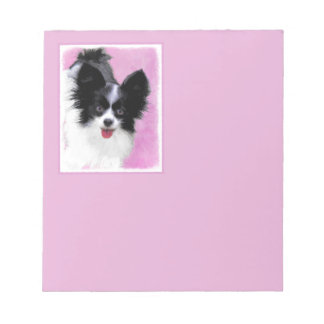 Papillon (White and Black) Painting - Dog Art Notepad