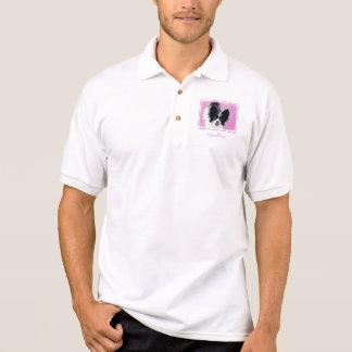 Papillon (White and Black) Painting - Dog Art Polo Shirt