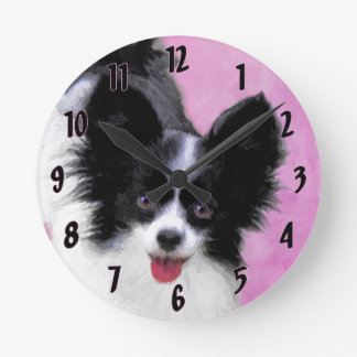 Papillon (White and Black) Painting - Dog Art Round Clock