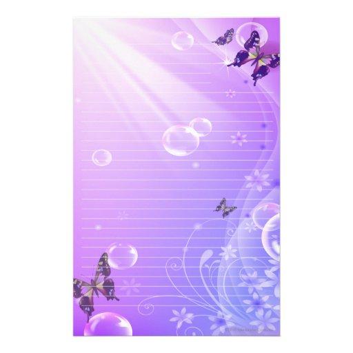 Papillons et bulles stationnaires papier à lettre personnalisable