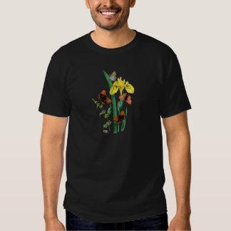 Papillons et iris jaune t shirt