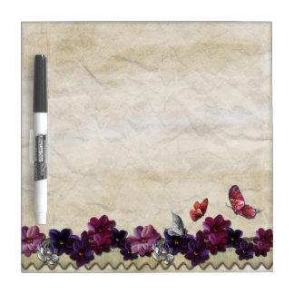 Papillons floraux violets tableau blanc effaçable à sec