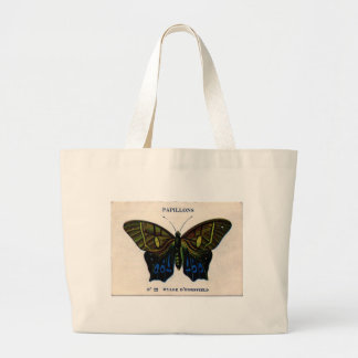 Papillons Vintage Butterfly design Large Tote Bag