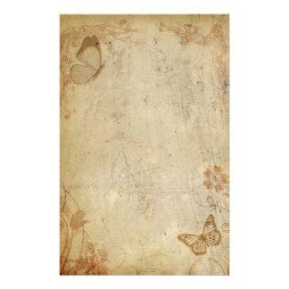 Papillons vintages papier à lettre customisable