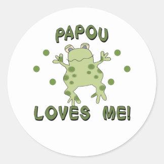 Papou Loves Me Frog Round Sticker