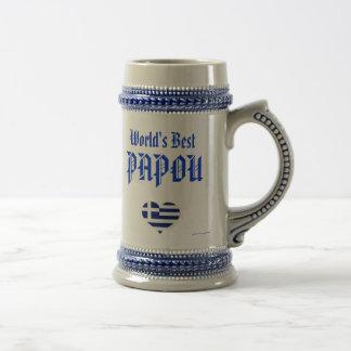 Papou Stein - World's Best Papou (greek - grandpa) 18 Oz Beer Stein